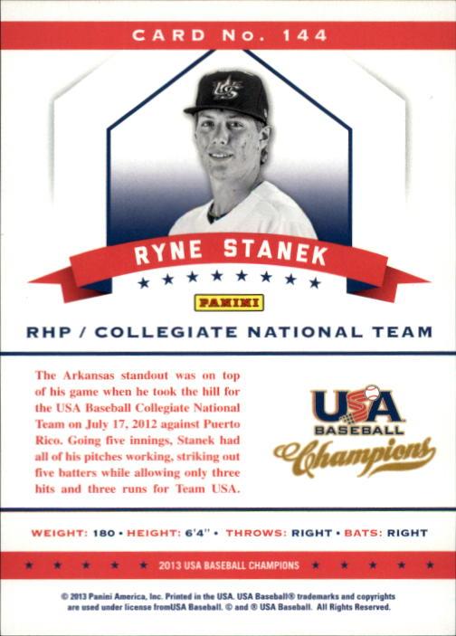 2013 USA Baseball Champions #144 Ryne Stanek back image