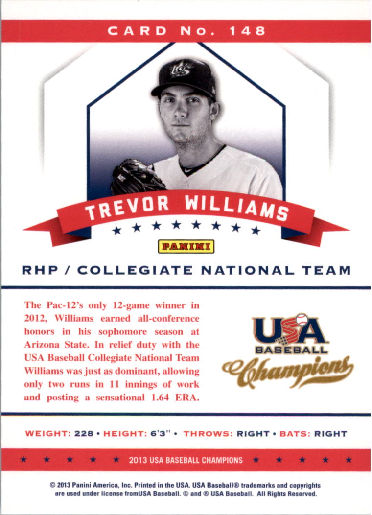 2013 USA Baseball Champions #148 Trevor Williams back image