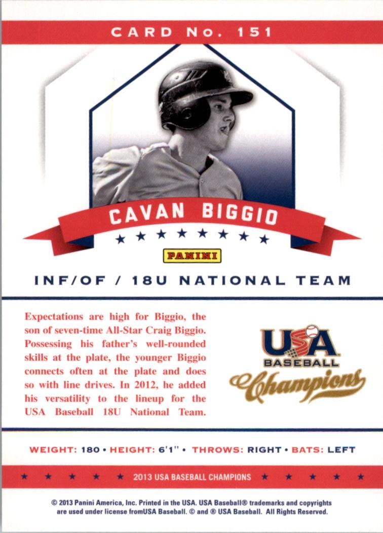 2013 USA Baseball Champions #151 Cavan Biggio back image