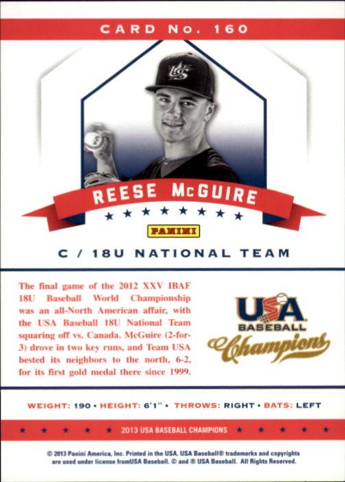 2013 USA Baseball Champions #160 Reese McGuire back image