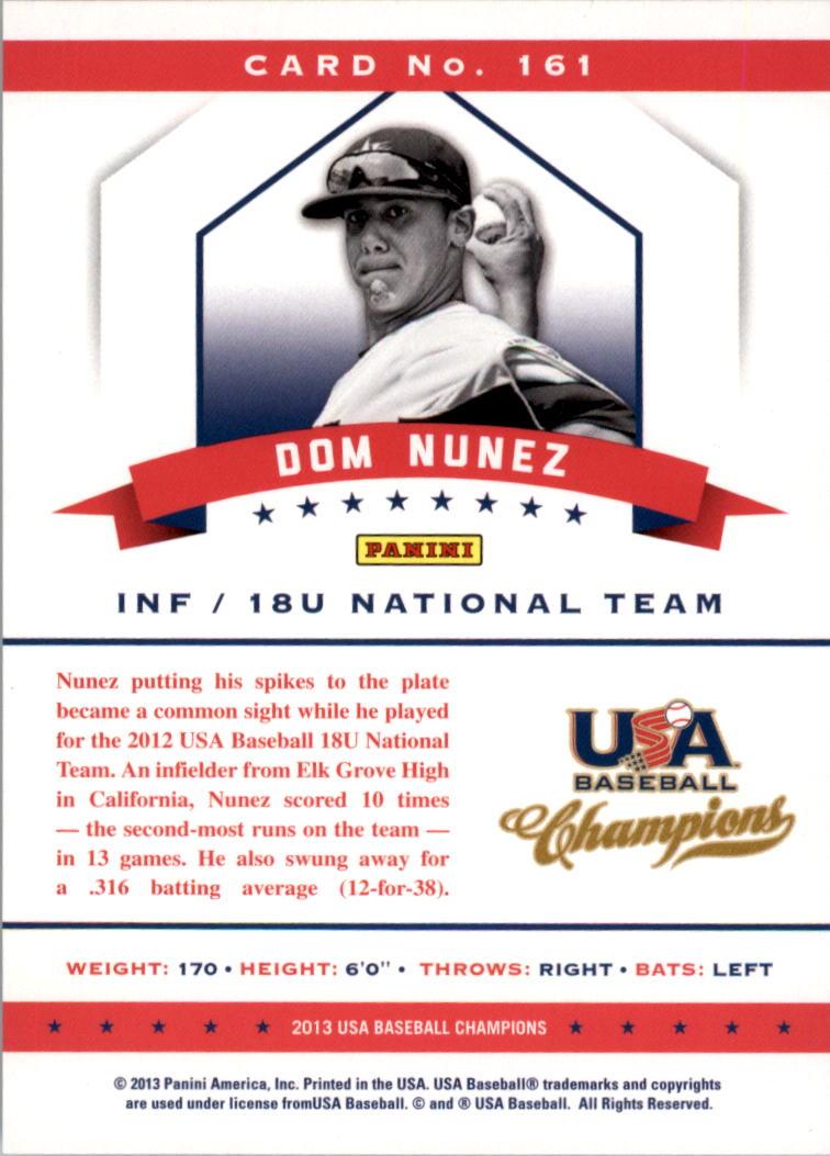 2013 USA Baseball Champions #161 Dom Nunez back image
