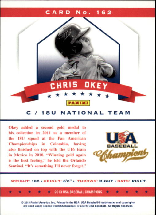 2013 USA Baseball Champions #162 Chris Okey back image