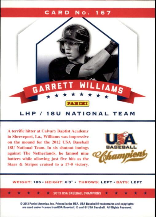 2013 USA Baseball Champions #167 Garrett Williams back image