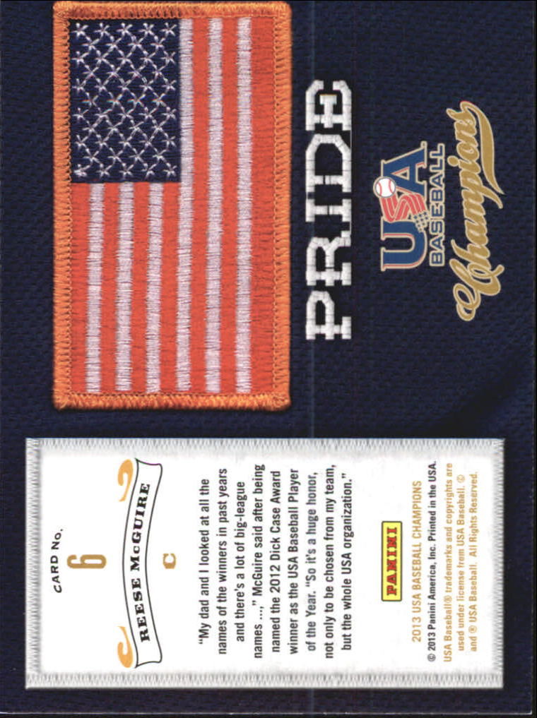 2013 USA Baseball Champions Pride #6 Reese McGuire back image
