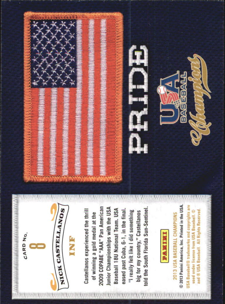 2013 USA Baseball Champions Pride #8 Nick Castellanos back image
