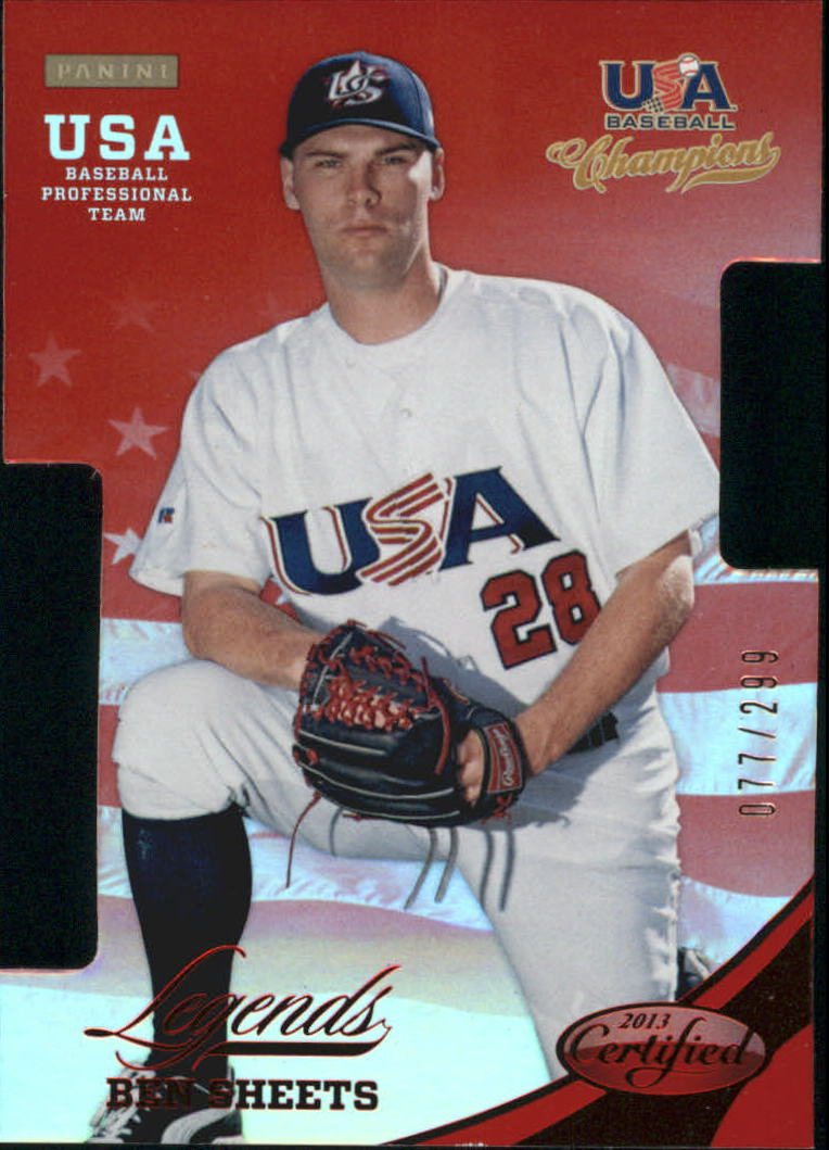 2013 USA Baseball Champions Legends Certified Die-Cuts Mirror Red #1 Ben Sheets
