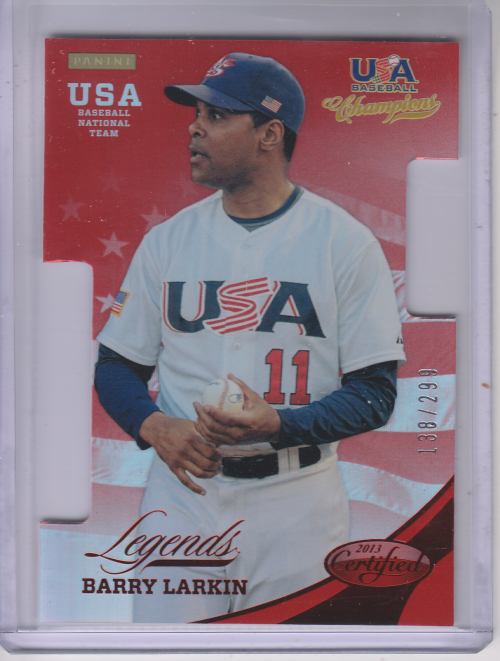 2013 USA Baseball Champions Legends Certified Die-Cuts Mirror Red #14 Barry Larkin
