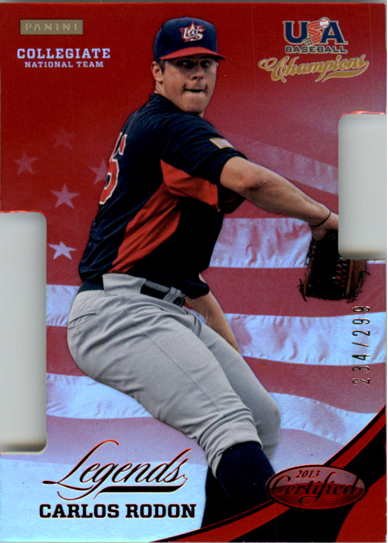 2013 USA Baseball Champions Legends Certified Die-Cuts Mirror Red #17 Carlos Rodon