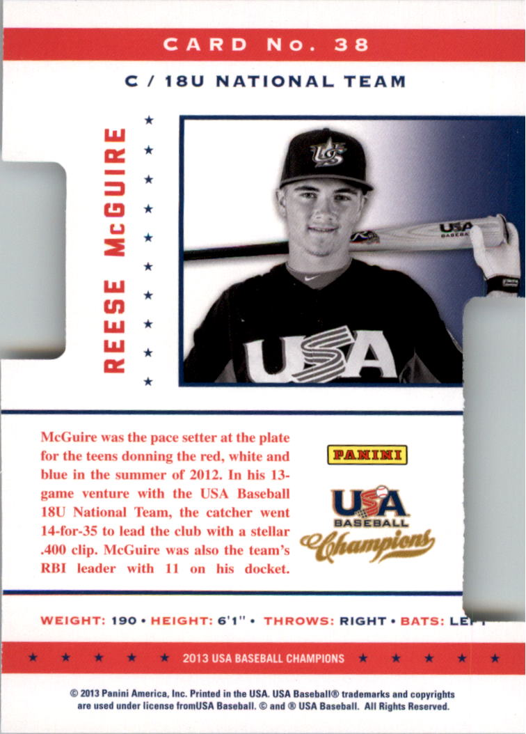 2013 USA Baseball Champions Legends Certified Die-Cuts Mirror Red #38 Reese McGuire back image