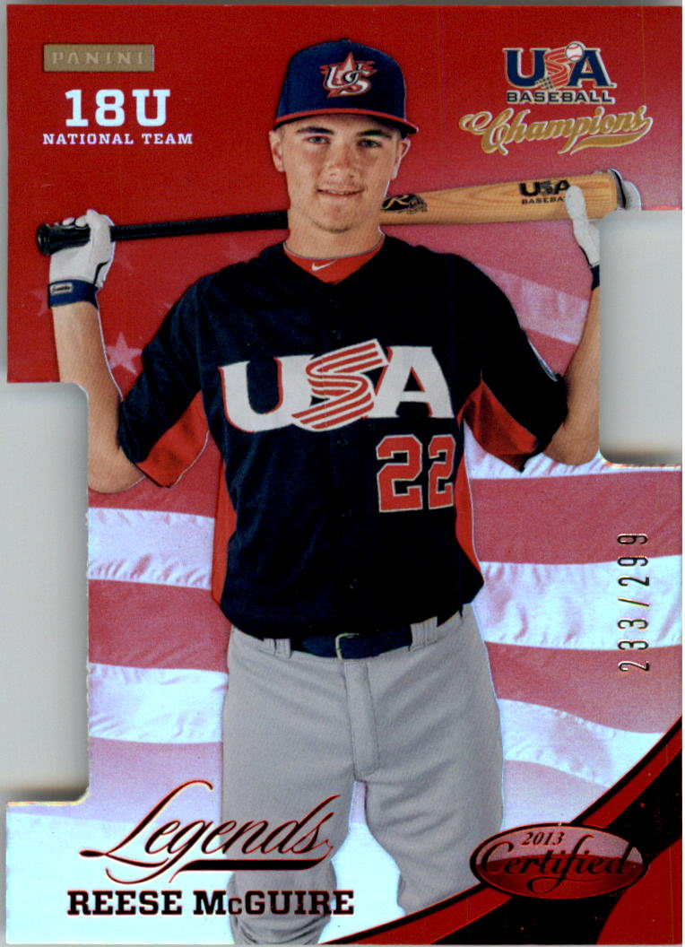 2013 USA Baseball Champions Legends Certified Die-Cuts Mirror Red #38 Reese McGuire