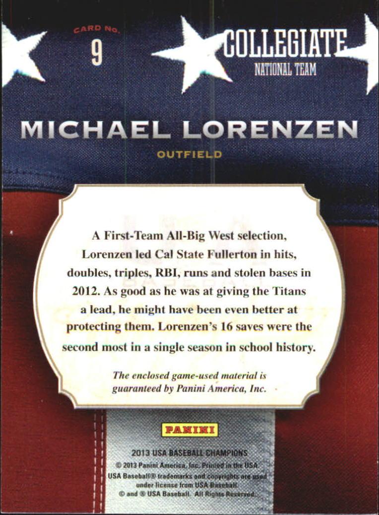 2013 USA Baseball Champions Game Gear Bats #9 Michael Lorenzen back image