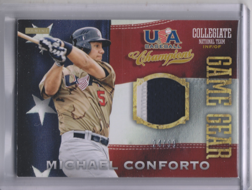 2013 USA Baseball Champions Game Gear Jerseys Prime #28 Michael Conforto/99