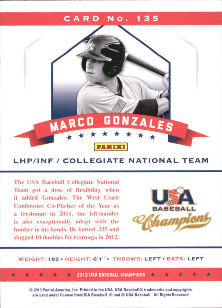 2013 USA Baseball Champions National Team Mirror Blue #135 Marco Gonzales back image