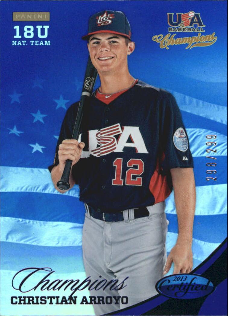 2013 USA Baseball Champions National Team Mirror Blue #150 Christian Arroyo