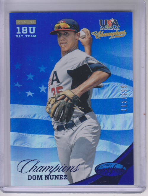 2013 USA Baseball Champions National Team Mirror Blue #161 Dom Nunez