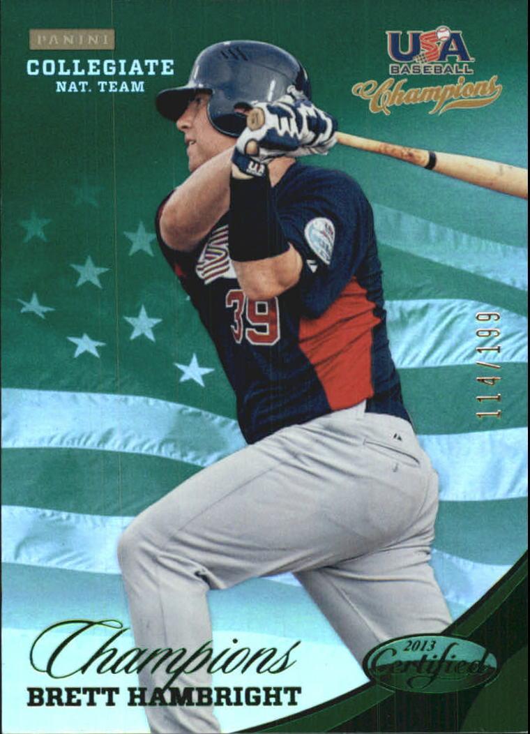 2013 USA Baseball Champions National Team Mirror Green #136 Brett Hambright