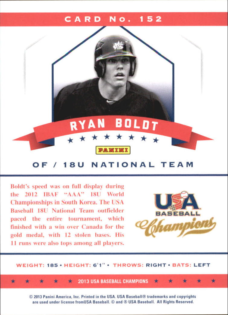 2013 USA Baseball Champions National Team Mirror Green #152 Ryan Boldt back image