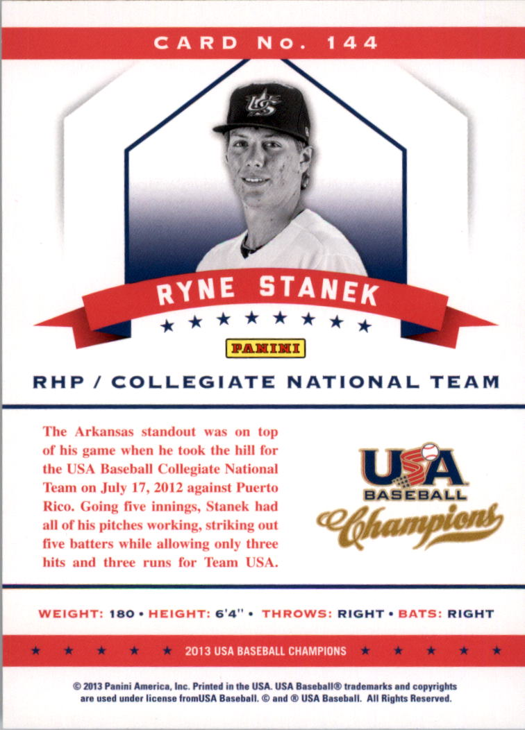 2013 USA Baseball Champions National Team Mirror Red #144 Ryne Stanek back image