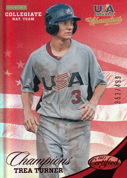 2013 USA Baseball Champions National Team Mirror Red #146 Trea Turner