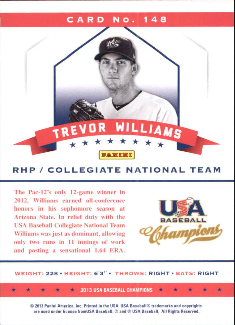 2013 USA Baseball Champions National Team Mirror Red #148 Trevor Williams back image