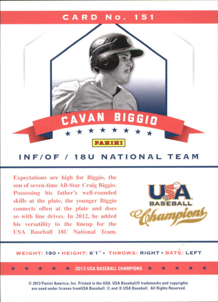 2013 USA Baseball Champions National Team Mirror Red #151 Cavan Biggio back image