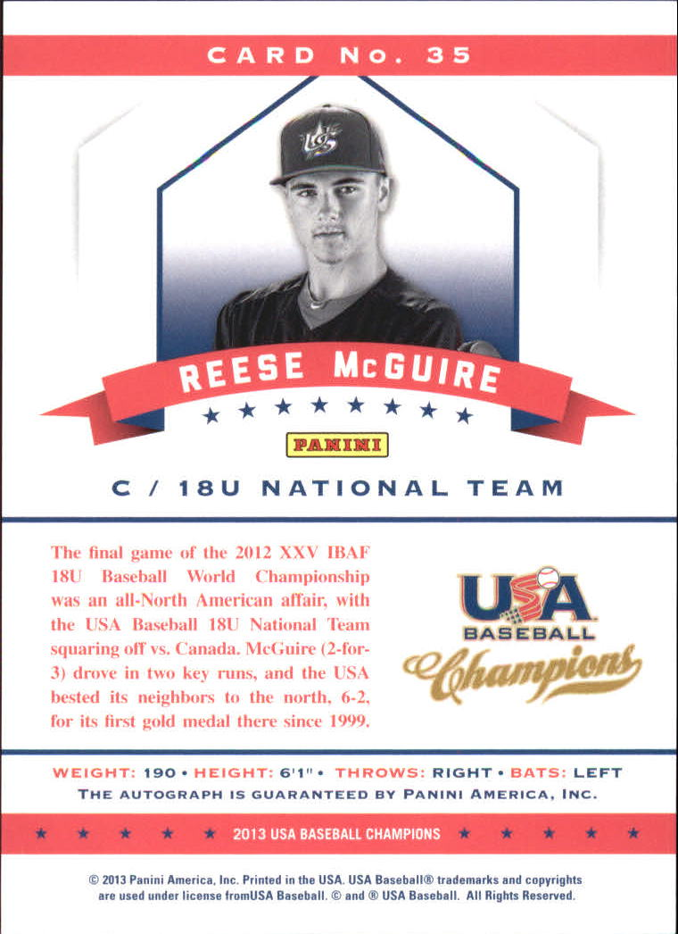 2013 USA Baseball Champions National Team Certified Signatures #35 Reese McGuire/299 back image