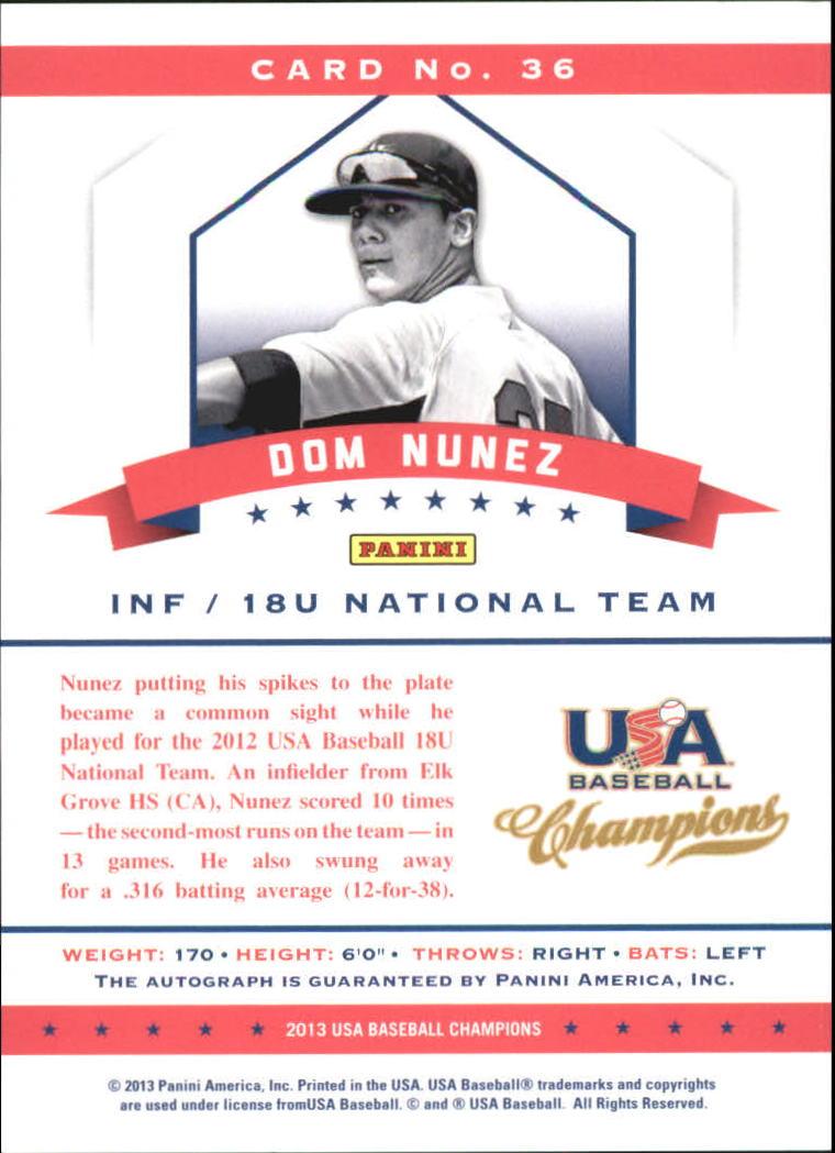 2013 USA Baseball Champions National Team Certified Signatures #36 Dom Nunez/299 back image