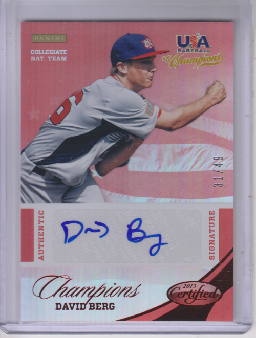 2013 USA Baseball Champions National Team Certified Signatures Mirror Red #1 David Berg