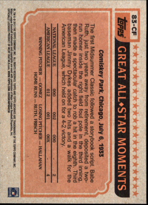 2013 Topps Archives 1983 All-Stars #CF Carlton Fisk back image