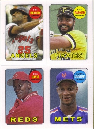 2013 Topps Archives Four-In-One #BPDS Don Baylor/Dave Parker/Eric Davis/Darryl Strawberry