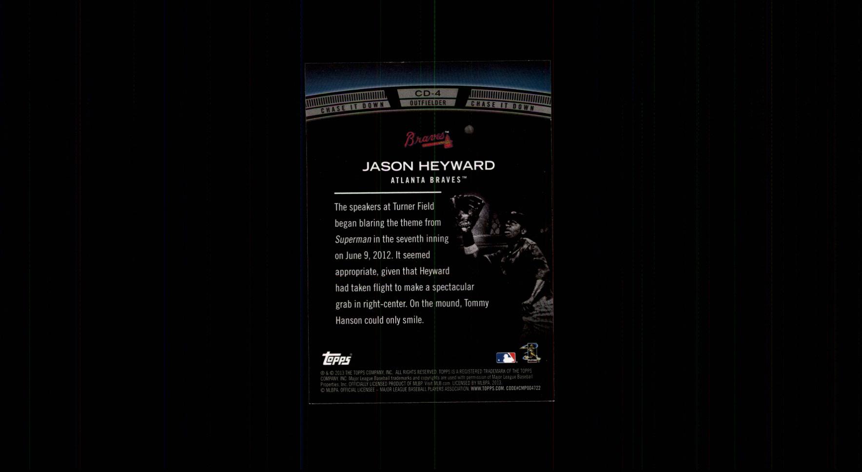 2013 Topps Chase It Down #CD4 Jason Heyward back image