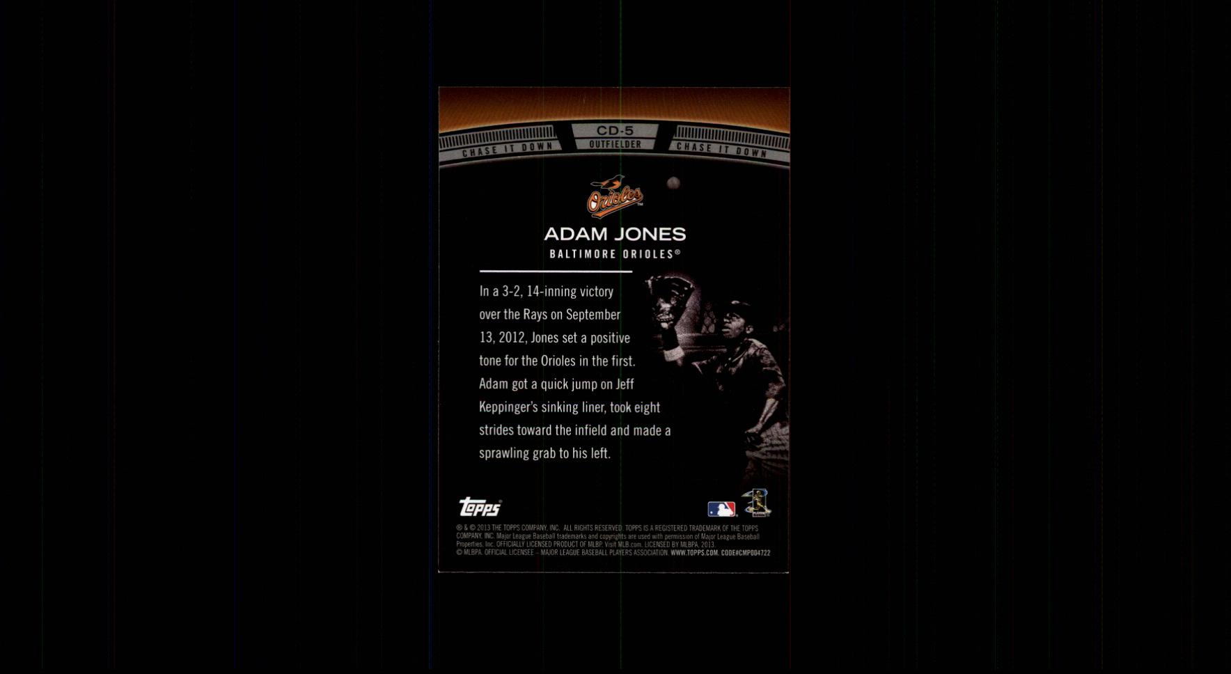 2013 Topps Chase It Down #CD5 Adam Jones back image