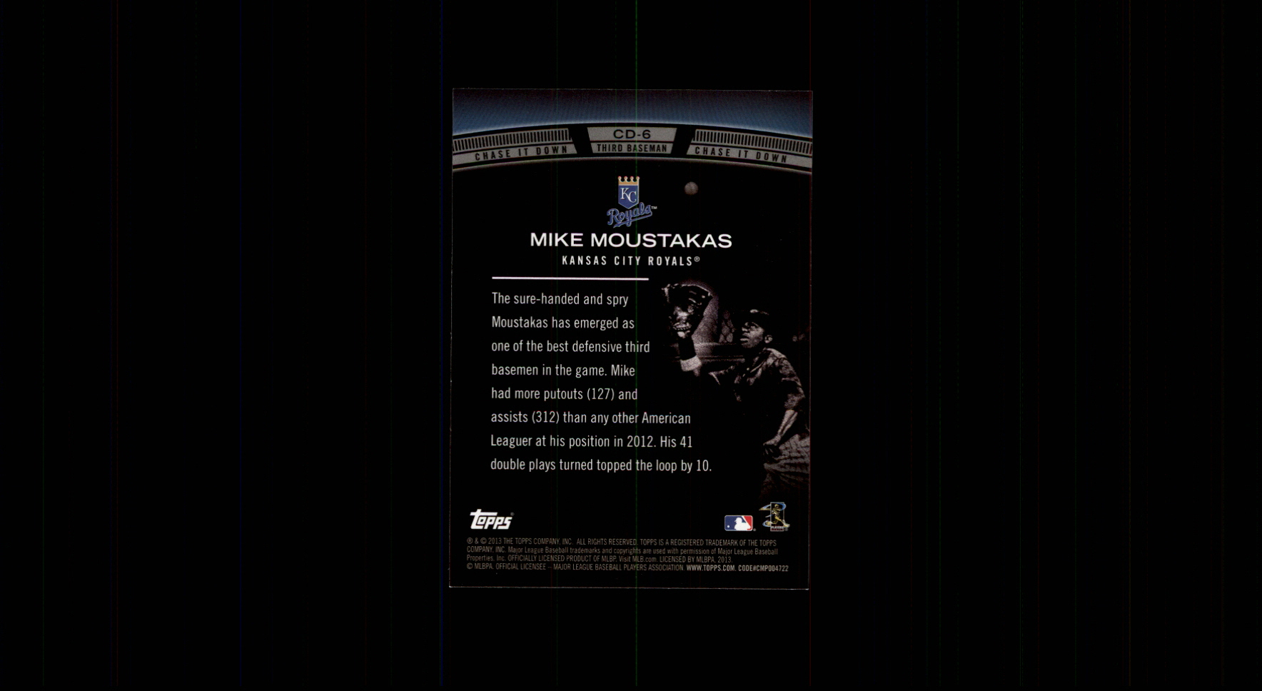 2013 Topps Chase It Down #CD6 Mike Moustakas back image