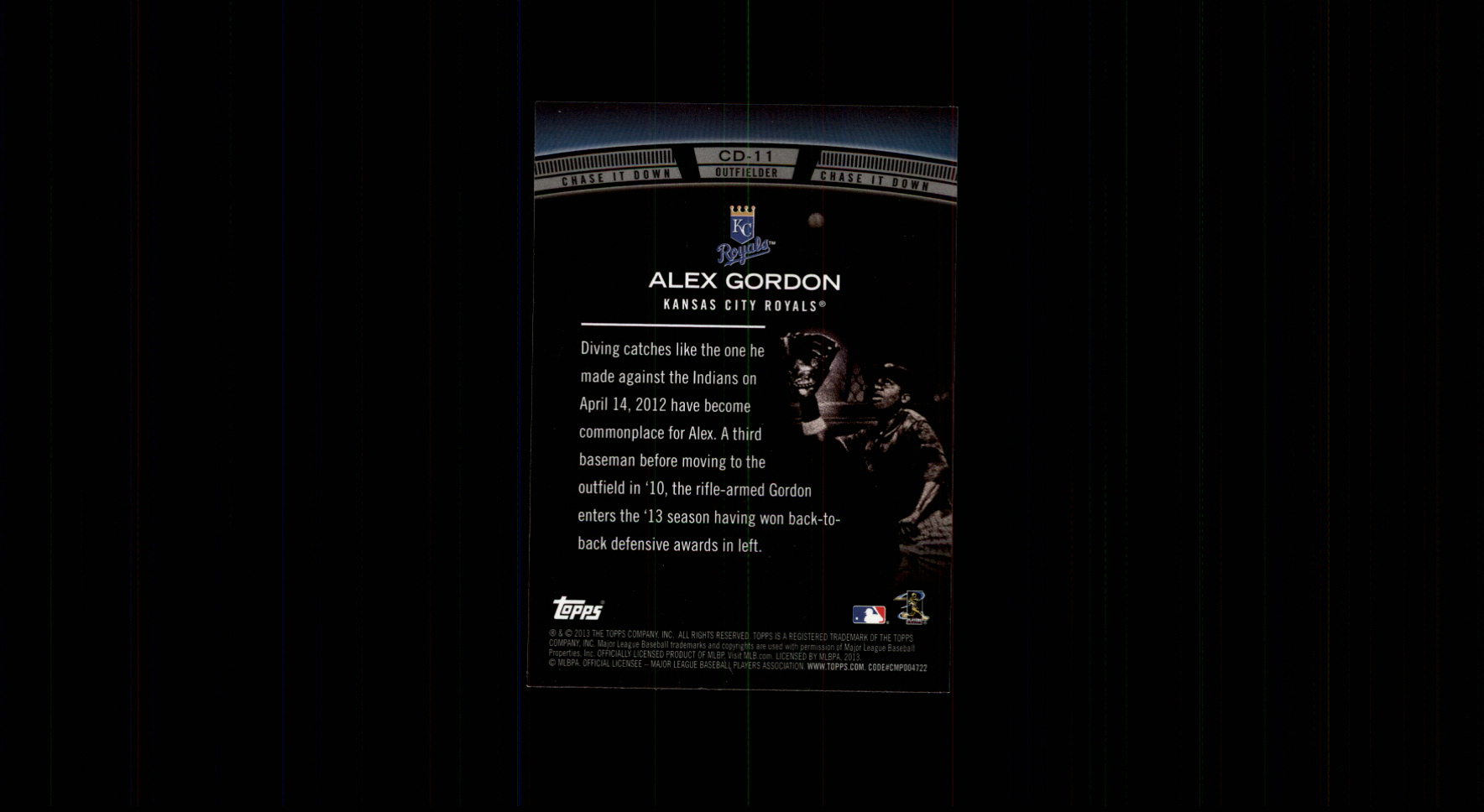 2013 Topps Chase It Down #CD11 Alex Gordon back image