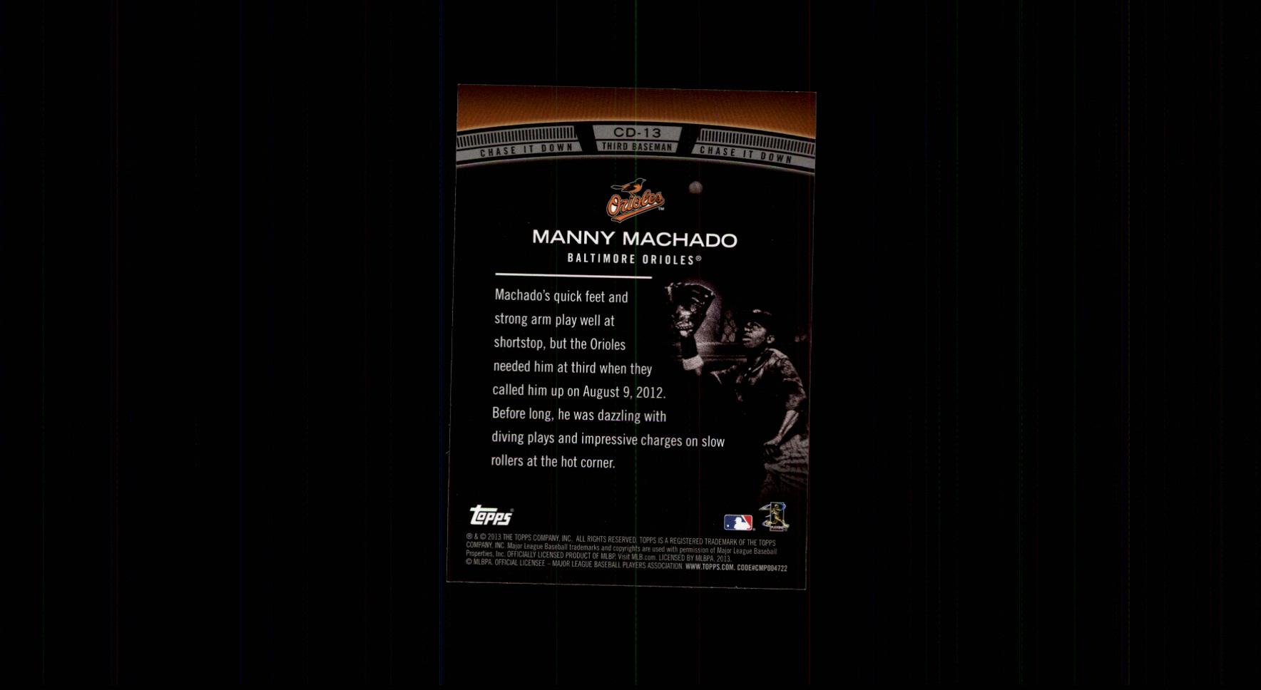 2013 Topps Chase It Down #CD13 Manny Machado back image
