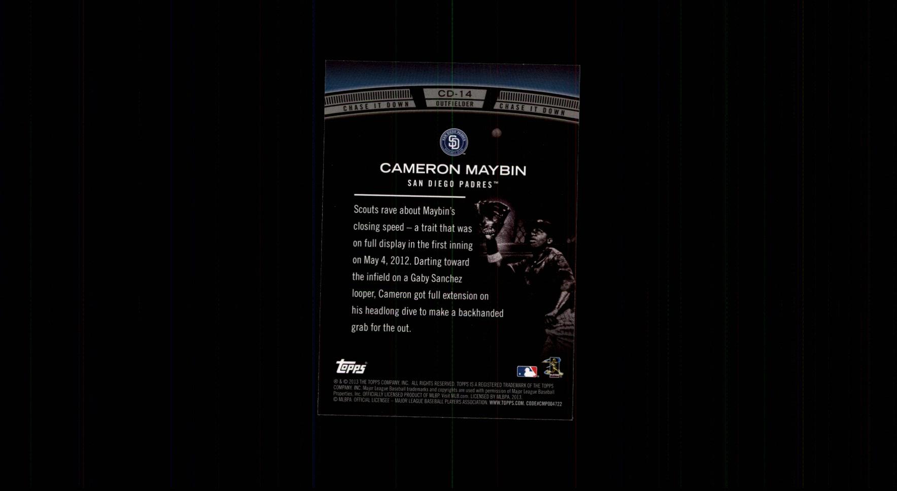 2013 Topps Chase It Down #CD14 Cameron Maybin back image