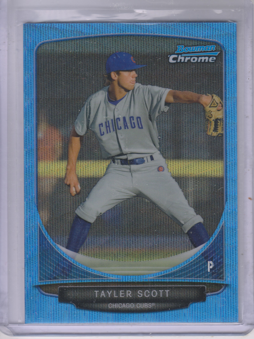 2013 Bowman Chrome Prospects Blue Wave Refractors #BCP8 Tayler Scott