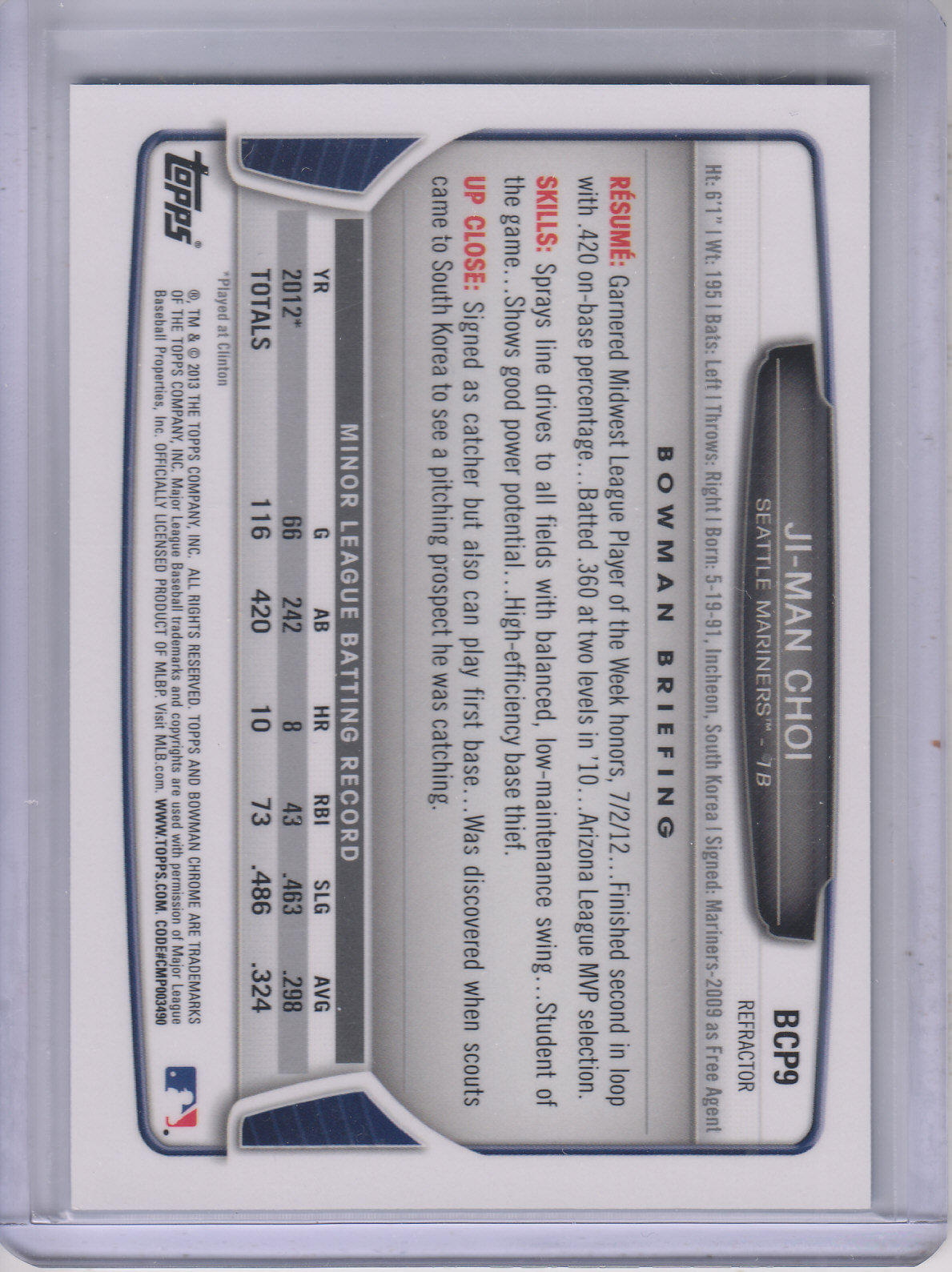 2013 Bowman Chrome Prospects Blue Wave Refractors #BCP9 Ji-Man Choi back image
