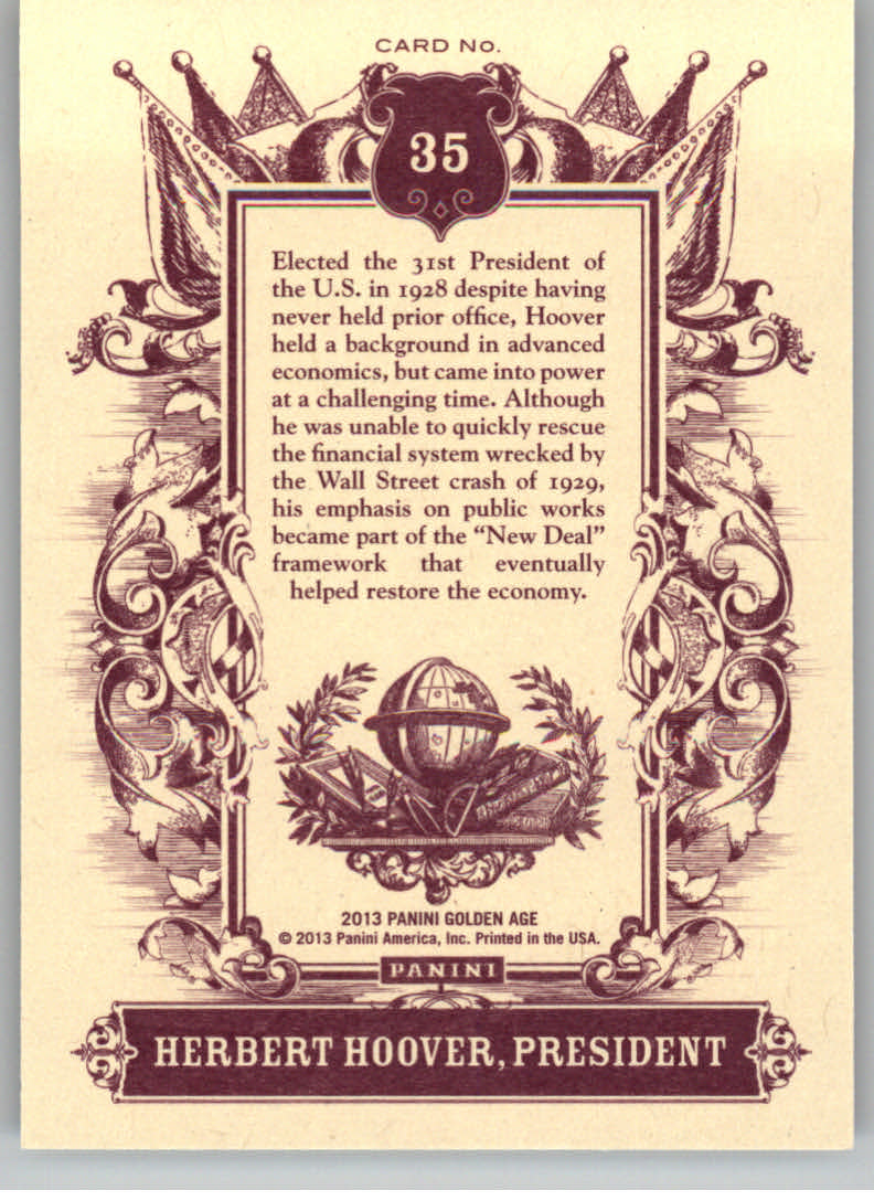 2013 Panini Golden Age #35 Herbert Hoover back image