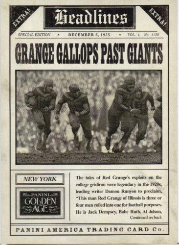 2013 Panini Golden Age Headlines #2 Red Grange