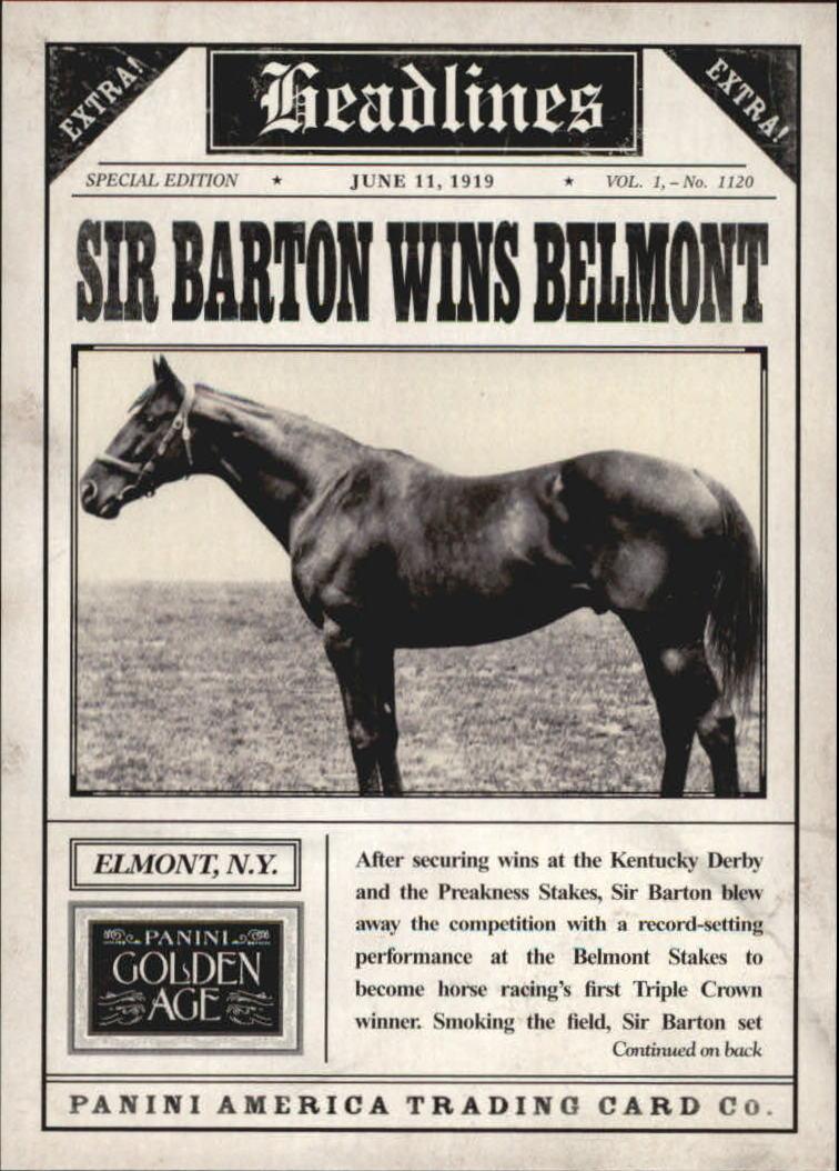 2013 Panini Golden Age Headlines #3 Sir Barton