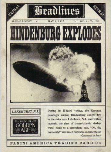 2013 Panini Golden Age Headlines #4 Hindenburg
