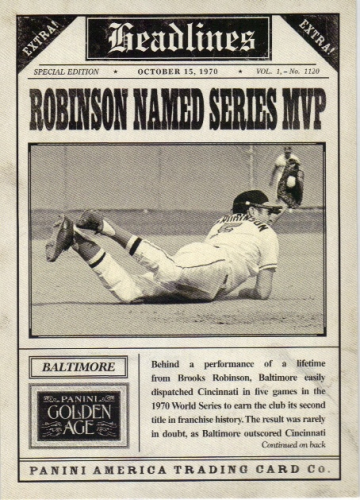 2013 Panini Golden Age Headlines #5 Brooks Robinson