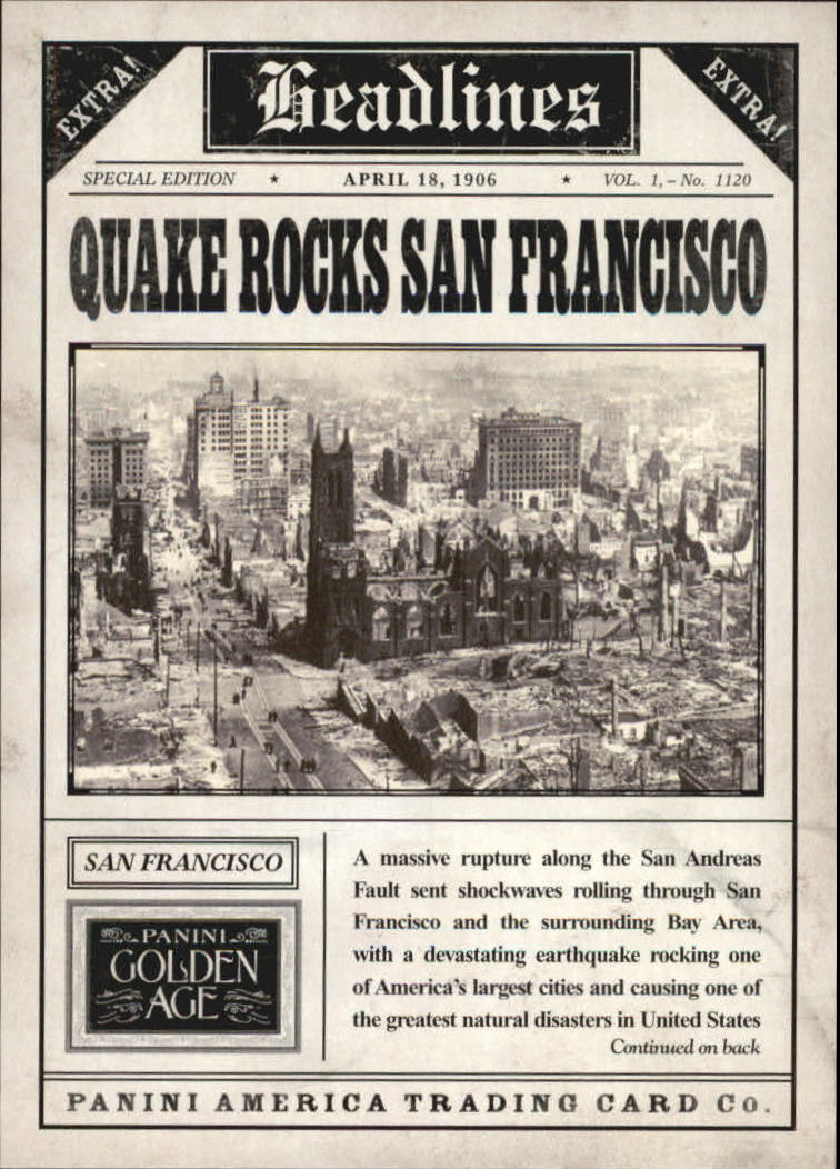 2013 Panini Golden Age Headlines #11 1906 San Francisco Earthquake