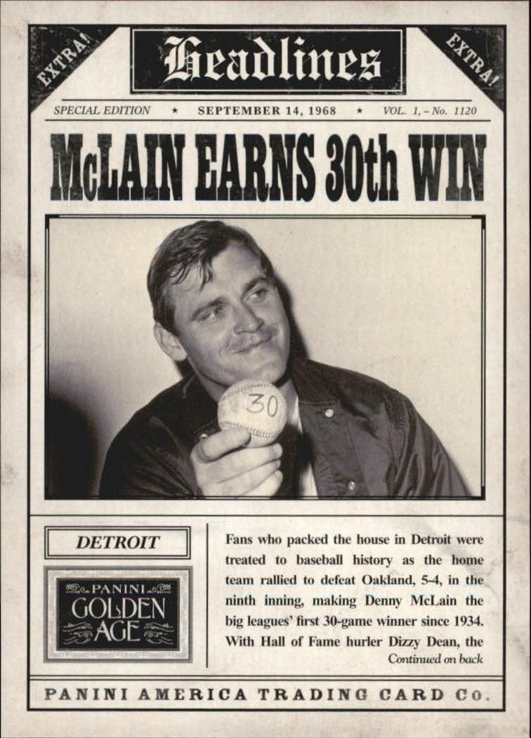 2013 Panini Golden Age Headlines #13 Denny McLain