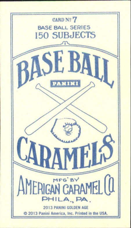 2013 Panini Golden Age Mini American Caramel Blue Back #7 Joe Tinker back image