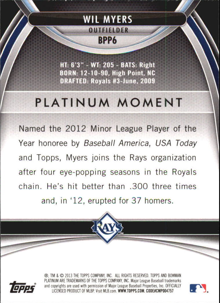 2013 Bowman Platinum Prospects #BPP6 Wil Myers back image