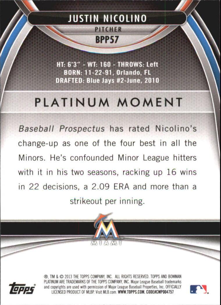 2013 Bowman Platinum Prospects #BPP57 Justin Nicolino back image