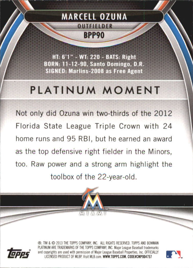 2013 Bowman Platinum Prospects #BPP90 Marcell Ozuna back image