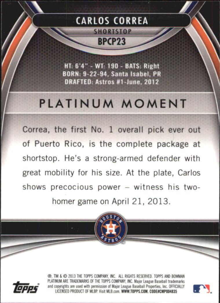 2013 Bowman Platinum Chrome Prospects Purple Refractors #BPCP23 Carlos Correa back image